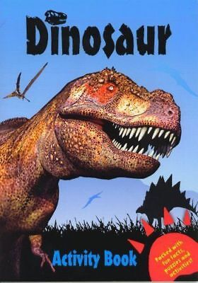 Dinosaur Activity Book A4 Childrens Puzzle Dot to Dot Colouring Book Blue 2466