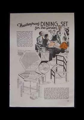 DINING SET 1937 How-To build PLANS Mission/Deco Table & Chairs for sale  Shipping to India