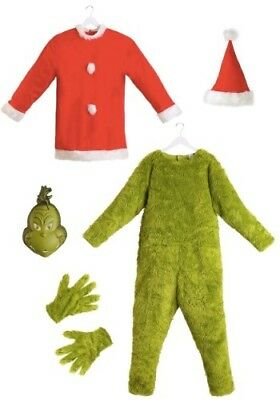 THE GRINCH SANTA DELUXE MEN'S JUMPSUIT WITH MASK COSTUME (L/XL). Free Ship - Santa Costumes For Men