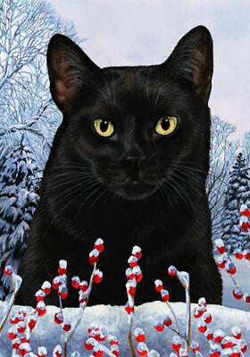 Winter House Flag - Black Cat 15951
