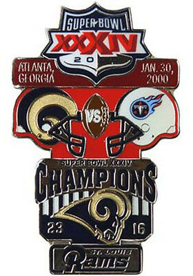 Super Bowl 34 Xxxiv St Louis Rams Tennessee Titans Final Score Pin Large Psg