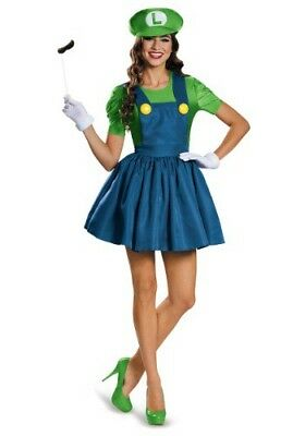 Mario Luigi Womens Halloween Costumes (Women's Nintendo Super Mario Luigi Dress Extra Large Halloween 18-20 Costume)