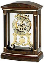 Bulova Valeria Solid Wood Walnut Burl Veneer & Walnut Stain Mantel Clock B2026