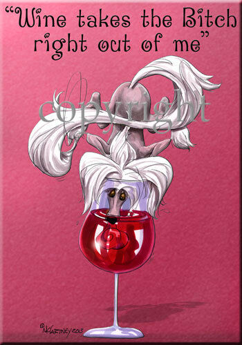 Chinese Crested Breed Wine Bitch Dog Artist Kitchen Glass Cutting Board