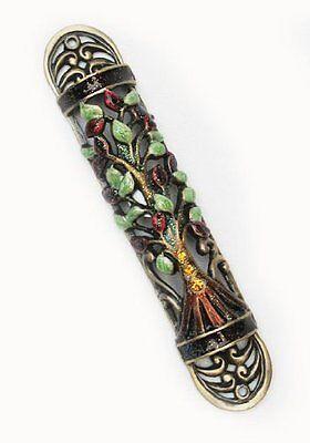 MEZUZAH MEZUZA Torah-Judaic-Jewish Tree of Life Green Pewter Enamel  and Scroll