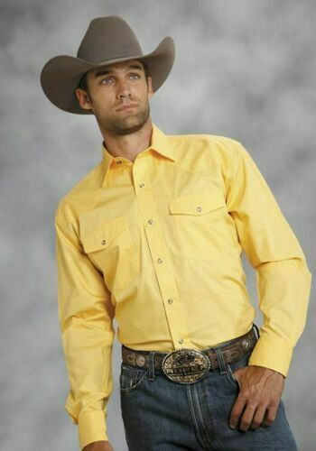 Roper Mens Amarillo Poplin Shirt - Solid Yellow -L