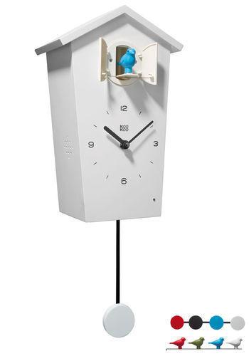 KooKoo Birdhouse Watch White New/Boxed Modern Design Cuckoo 4 Birds/Pendulum