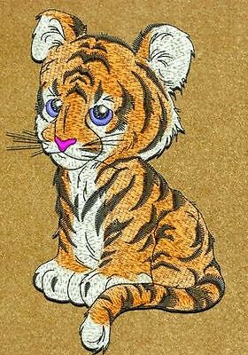 """Tiger, Wildlife, Exotic Cat, Kitten Embroidered Patch 3.5""""x 5.5"""""""