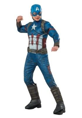 Captain America Elite Costume (BOYS ELITE CIVIL WAR CAPTAIN AMERICA COSTUME SIZE-L (missing chin)