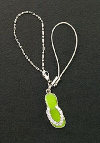 Dangle Flip Flop Green Enamel Sterling Silver Crystals Cell Phone Charm Strap