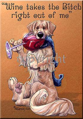 Golden Retriever Breed Wine Bitch Dog Artist Kitchen Glass Cutting Board