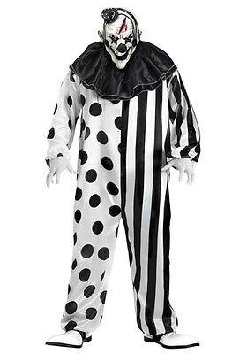 Killer Clown Black & White Halloween Horror Fancy Dress Costume Outfit M-XL