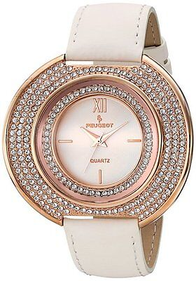 NEW-PEUGEOT ROSE GOLD TONE,WHITE LEATHER BAND,CURVED CRYSTAL DIAL WATCH (Gold Tone White Curves)