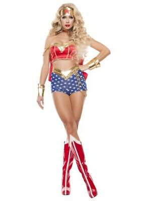 WOMEN'S CLASSIC SEXY WONDER WOMAN LADY COSTUME ADULT SIZE SMALL (w/defect)