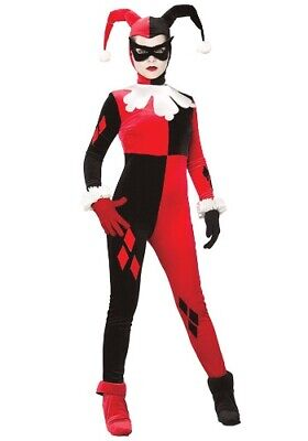 ADULT WOMEN'S HARLEY QUINN BATMAN VILLAIN COSTUME USED SIZE L (with defect)