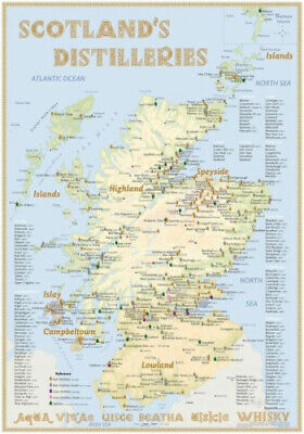 Whisky Distilleries Scotland - Poster 70x100cm Standard Edition|Landkarte