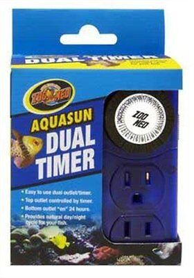 Zoo Med AquaSun Dual Timer Custom 2 Outlet Timer Day/Night Timer Cycle , New, Fr