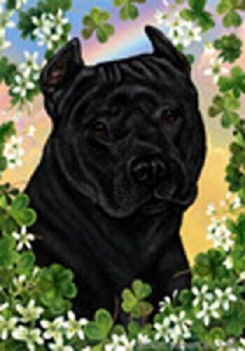Clover Garden Flag - Black American Pit Bull Terrier 314071