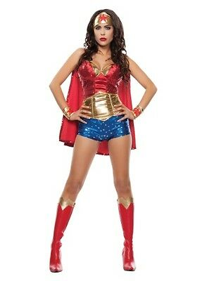 WOMEN'S WONDER WOMAN LADY COSTUME -- Size Medium Top & Size Small - Wonder Woman Costume Shorts