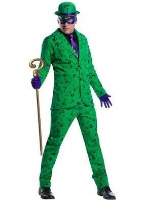 NWT Adult The Riddler Halloween Costume set Mens size small Batman w/ gold cane