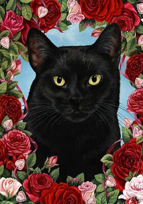Roses House Flag - Black Cat 19951
