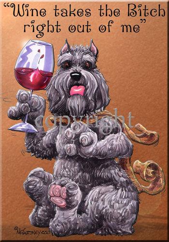 Bouvier Des Flandres Breed Wine Bitch Dog Artist Kitchen Glass Cutting Board