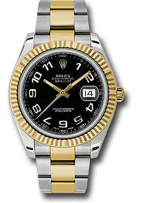 Rolex Oyster Perpetual Datejust II 41mm Two Tone Black Arabic Dial Fluted 116333