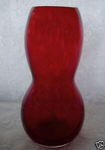 Collectible Heavy Ruby Red Blown Art Glass Vase