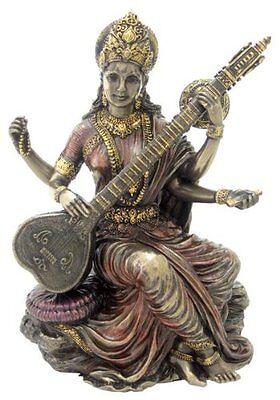 5 5  Hindu Goddess Saraswati Playing Vina Statue Sculpture Figurine Sarasvati