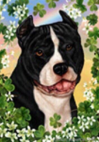 Clover Garden Flag - Black and White American Pit Bull Terrier 314051