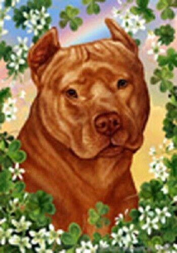 Clover Garden Flag - Orange American Pit Bull Terrier 314061