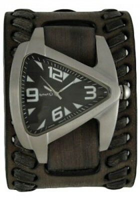 Oversized Teardrop Watch with Faded Black Wide Weaved Vintage Style Leather