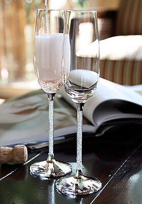 Wedding Champagne Toasting Flutes with Crystal Diamond Stems, Set of 2 Glasses  ()