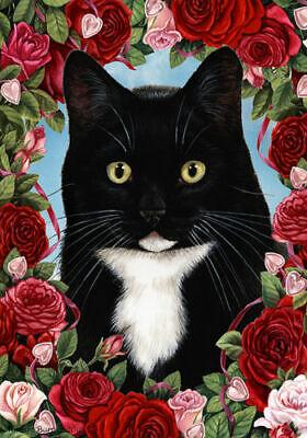 Roses House Flag - Black and White Tuxedo Cat 19950