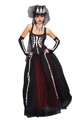 WOMEN'S MISS BONES SKELETON BRIDE COSTUME SIZE M (with defect) - Skeleton Bride Costume
