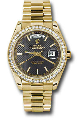 Rolex Day-Date President 40mm 18kt Yellow Gold Diamond Bezel Black Dial 228348