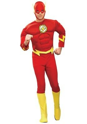 Rubies The Flash Adult Halloween Costume Muscle Chest Large 42-44