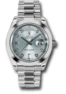 Rolex Day Date II 41mm President Platinum Factory Ice Blue Diamond Dial 218206