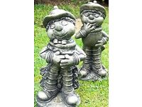 "Stone Flowerpot Men Statues each one 12"" High Weatherproof (2)"