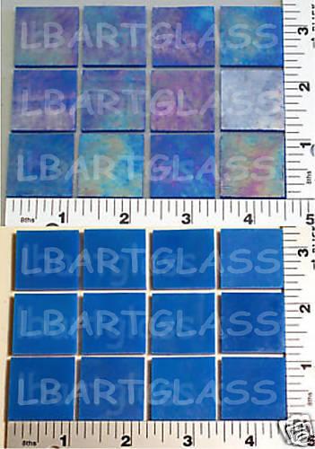 """12 IRIDIZED EGYPTIAN BLUE 1"""" x 1"""" UROBOROS GLASS SQUARES 90 COE"""