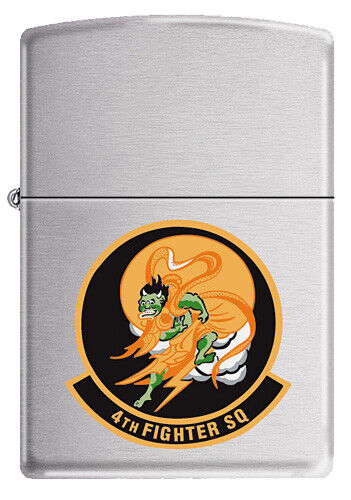 """4th Fighter Squadron  Zippo MIB """"Fighting Fuujins"""" Brushed Chrome 2005"""