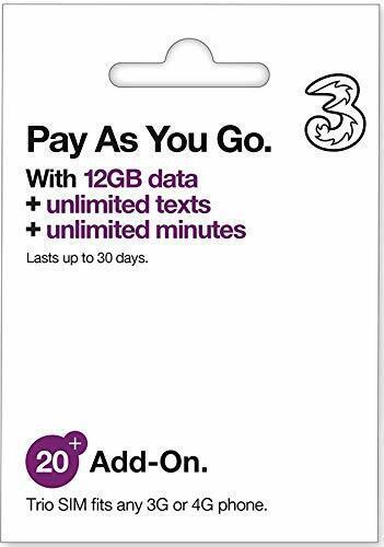 Europe Prepaid UK Three SIM Card 12GB Unlimited call 71 Coun