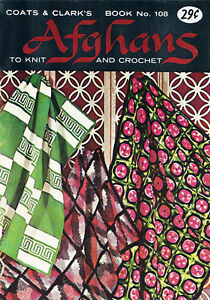 Vintage 1959 AFGHAN PATTERNS Knit and Crochet by Coats & Clark's