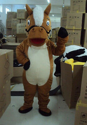 Xmas Horse Mascot Costumes Parade Cosplay Dress Adult Outfits (Head Is A Bubble) (Christmas Horse Costumes)