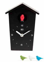 Kookoo Birdhouse Mini New/Boxed Black Modern Design Cuckoo Clock Many Extras