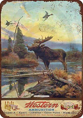 """Western Ammunition and Moose Vintage Rustic Retro Metal Sign 8"""" x 12"""""""