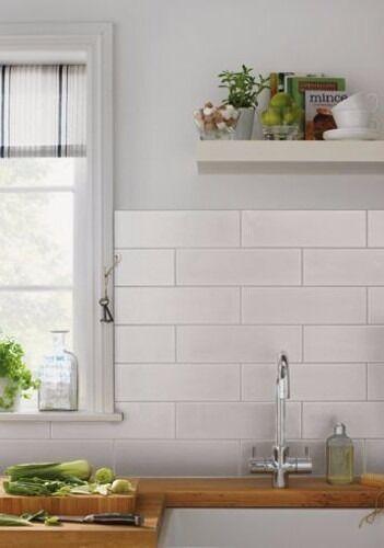 Kitchen Tiles Homebase homebase 826027 islington glossy white rectangular wall tiles