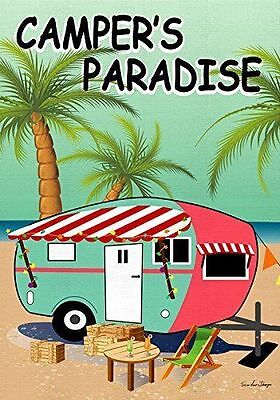 """FM CAMPER'S PARADISE (DOUBLE SIDED) CAMPING RV SUMMER 12""""x18"""" GARDEN FLAG BANNER"""