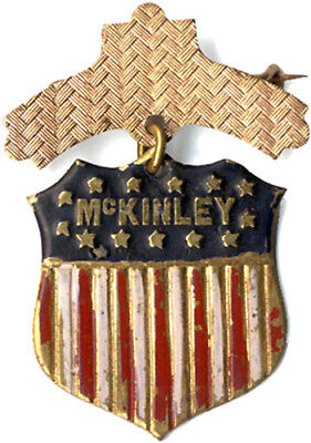 Antique 1896 William McKINLEY Campaign Shield Badge (1749)