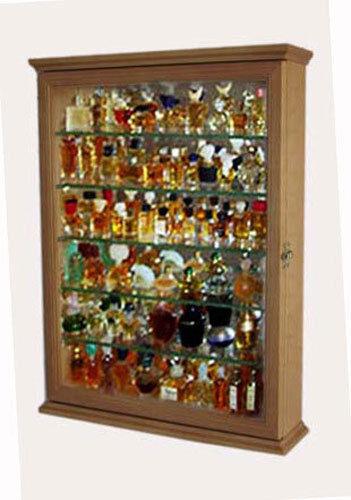 Miniature Perfume Bottle Display Case Cabinet - Oak